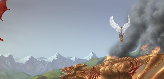 Dragon Dipyre quittant l'affrontement avec Auricupride, sous le regard de l'ange Eudialyte. Crédit de l'illustration: Eric Vaxman