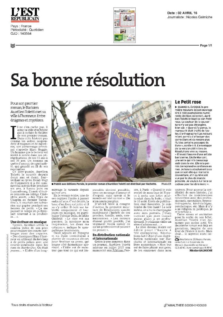 Aurelien Toletti en interview dans l'Est Republicain