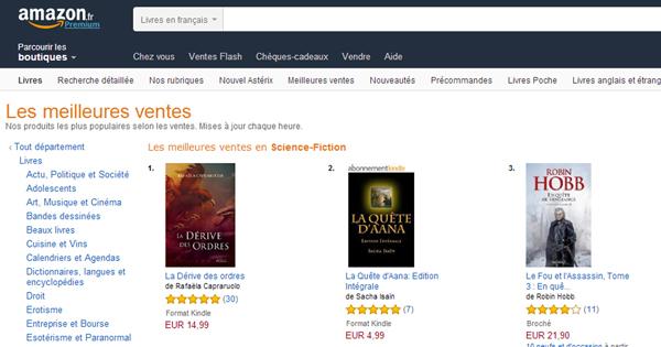 La Dérive des Ordres (Editions Persée) numéro 1 sur Amazon Kindle